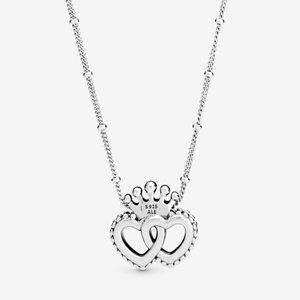 Pandora Crown Intertwined Hearts Pendant Necklace